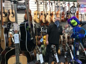 Buckie inside the Guitar Superstore at Burton